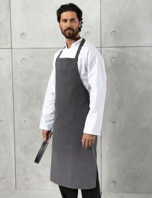 Chef with Fine Striped Bib Apron