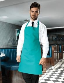 Waiter with Teal Bib Apron