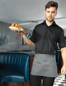 Waiter with Grey Short Waist Apron with Pockets
