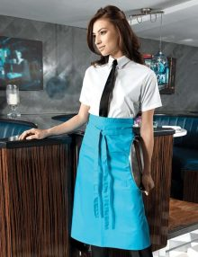 Waitress with Turquoise Long Waist Apron