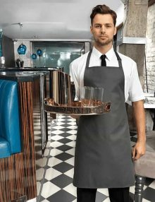 Waiter with Grey Polyester Bib Apron