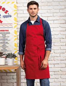 Waiter wearing red apron