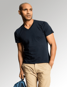 Men's Navy V Neck Uneek T-Shirt