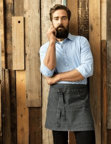 Waiter with Denim Waist Apron and Blue Shirt