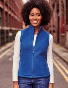 Woman wearing a blue fleece gilet