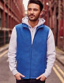 Man wearing blue fleece gilet