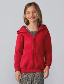 Child wearing red zip hoodie