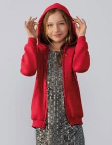 Child wearing zip hoodie