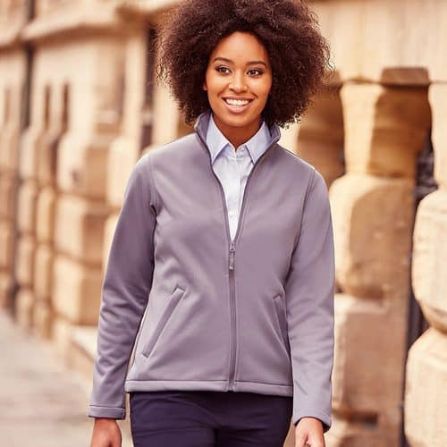 women wearing grey softshell jacket
