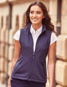 Woman wearing navy gilet