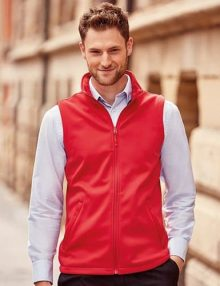 Man wearing red softshell gilet