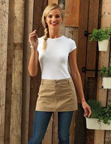 girl wearing chino waist apron