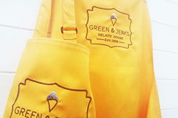 Yellow Aprons with Embroidered Logo