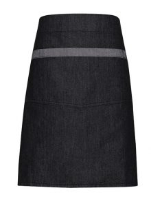 Contrast denim waist apron in black/grey