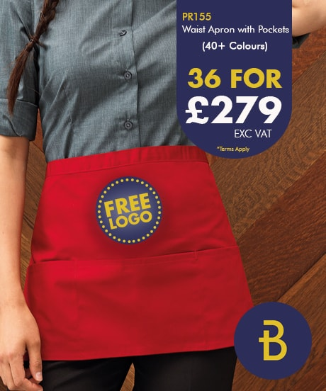 36 Waist Aprons with Free Logo Deal