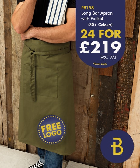 24 Bar Aprons with Free Logo Deal
