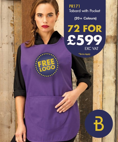 72 Tabard Aprons with Logo Deal