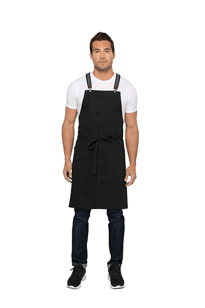 Front view of Jet Black Bib Apron